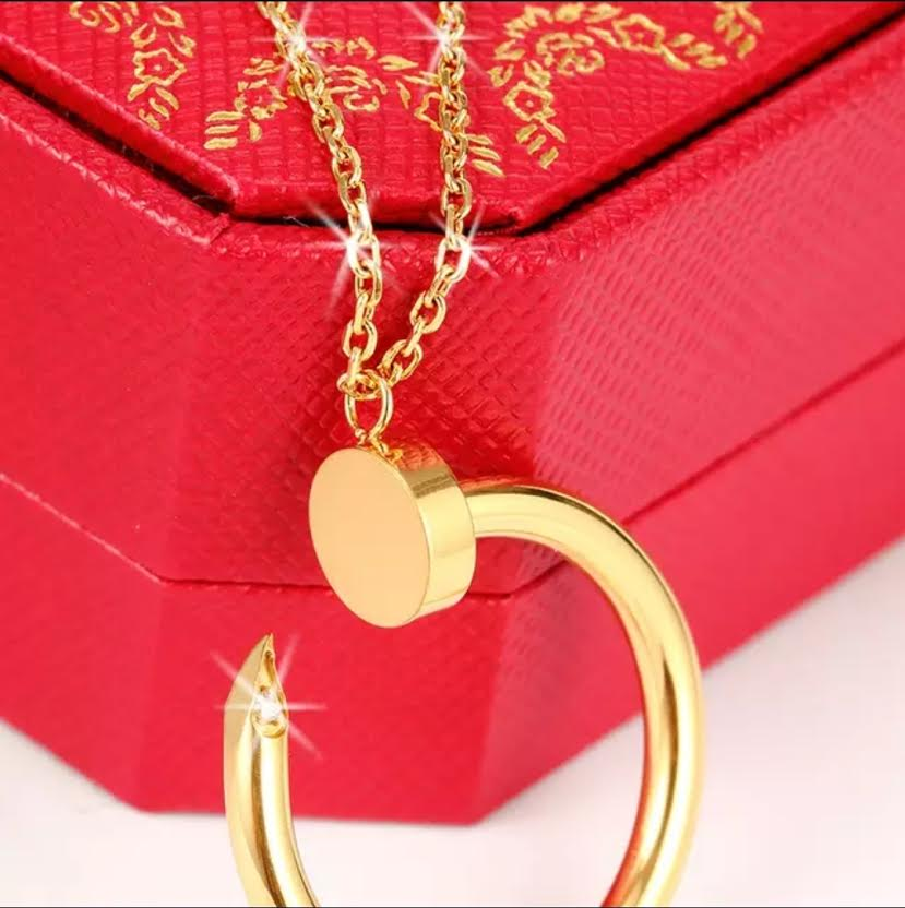 GOLD PLATED STAINLESS STEEL CHARM NAIL PENDANT NECKLACE