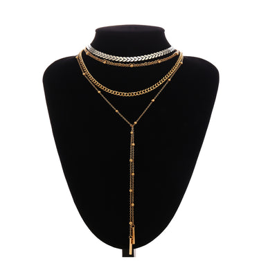 Gold Multi-layer Choker Necklace With a Separate Long Wrap necklace Elegant Jewelry