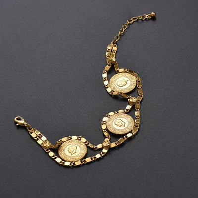 Money Coin Bracelet Gold Color / 18k gold plated Coins Bracelet Jewelry