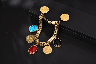Turkey Gold Coin Bracelet for Women Gold Color Osmanli Bangle Arab Jewelry Set