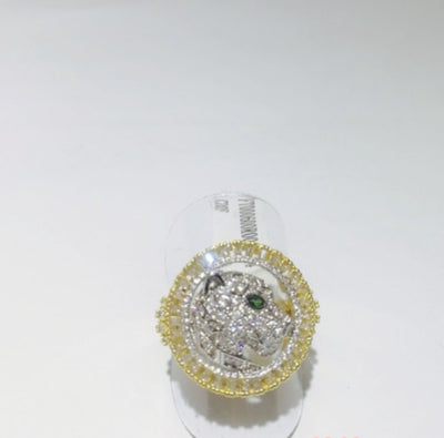 Panthere Love Ring18 K Gold Plated with Zircons Jaguar Style