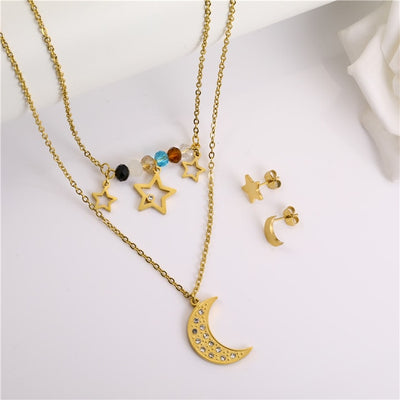 Moon Multi Layer Necklace Earrings Set Stainless Steel Jewelry Sets Fashion Jewelry Woman Accessories Gifts For Women