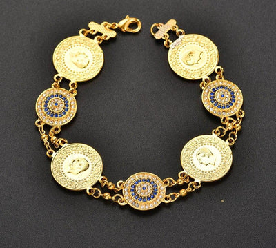 Crystal Blue Evil Eyes Money Coin  Bracelet for Jewelry Gifts