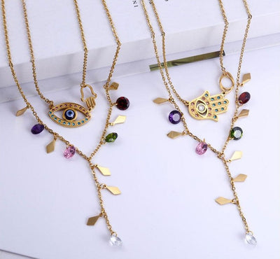 Evil Eyes and Hamsa Stainless Steel Jewelry Sets  Necklace Earrings Set Fashion Jewelry Woman Accessories