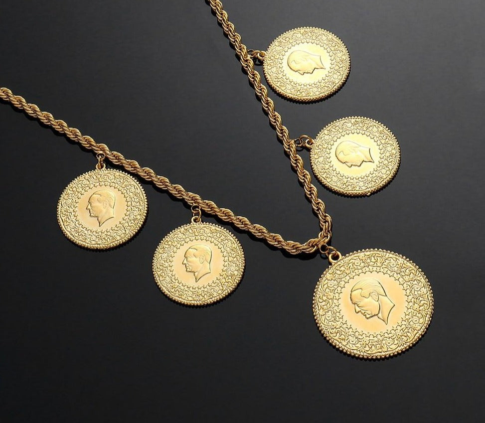 Trendy Arabic Coin Middle East Necklace for Women Money Gift Lucky