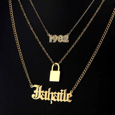 Custom Name Necklace Stainless Steel Multi Layer Lover Lock Pendant Year Number Nameplate Choker Necklaces for Women Best Gift