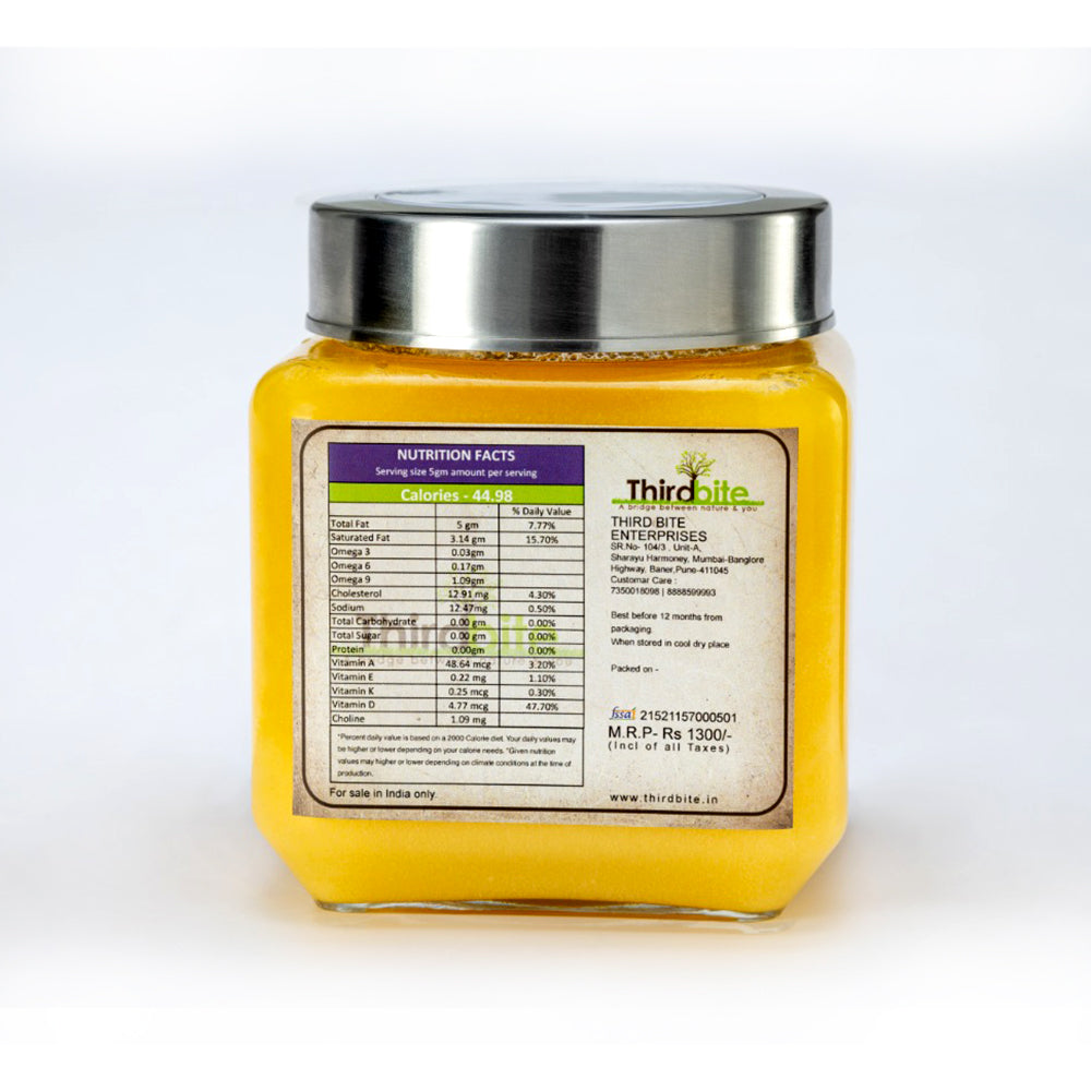 Thirdbite Gir Cow ghee from A2 Milk Prepared by Traditional Bilona Method-500 Gm