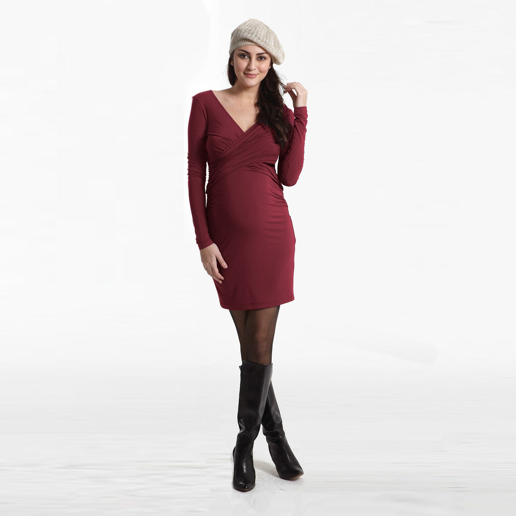 Cross Over Long Sleeve Dress