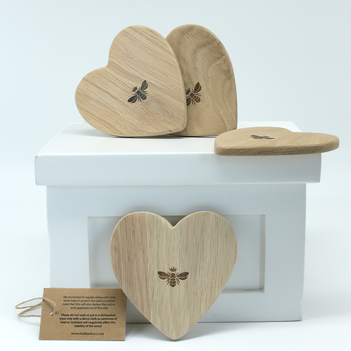 Wedgewood Nougat Wedgewood Oak Heart Coaster set of four