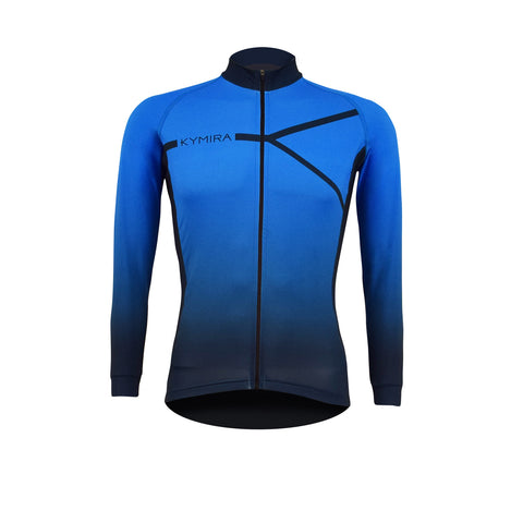Men's Infrared PrO2 Long Sleeve Cycle Jersey Blue to Black