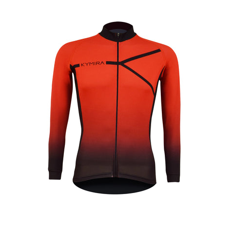 Men's Infrared PrO2 Long Sleeve Cycle Jersey Red to Black
