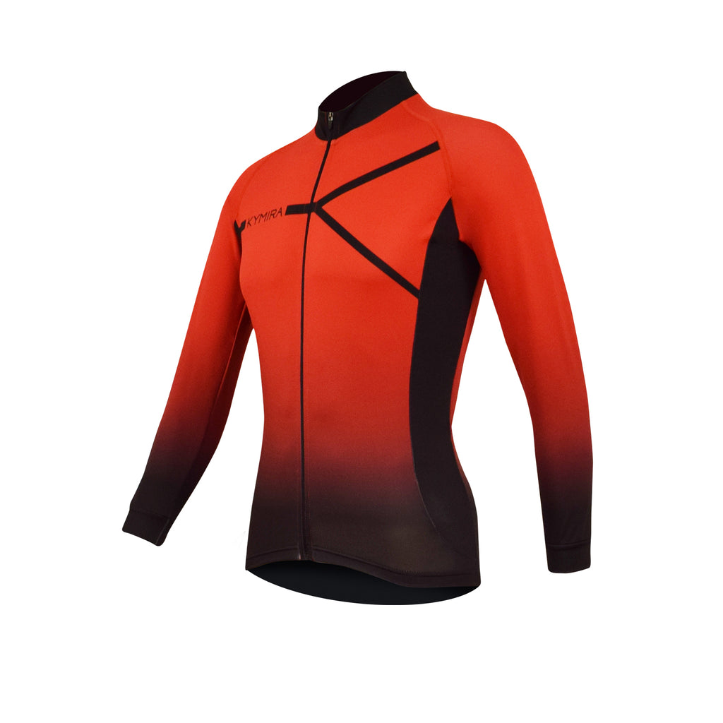 d6910bccd26 Men's PrO2 Long Sleeve Cycle Jersey Red to Black