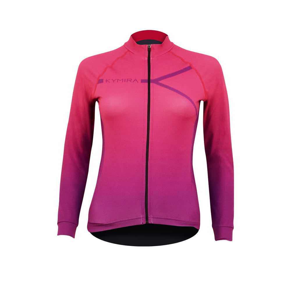 Women's PrO2 Long Sleeve Cycle Jersey Pink to Purple