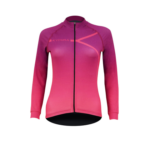 Women's PrO2 Long Sleeve Cycle Jersey Purple to Pink
