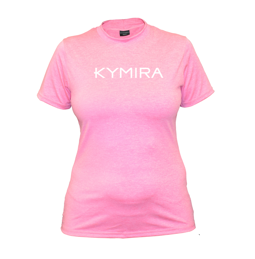 Women's Infrared Crew Marle T-Shirt in Pink with Logo