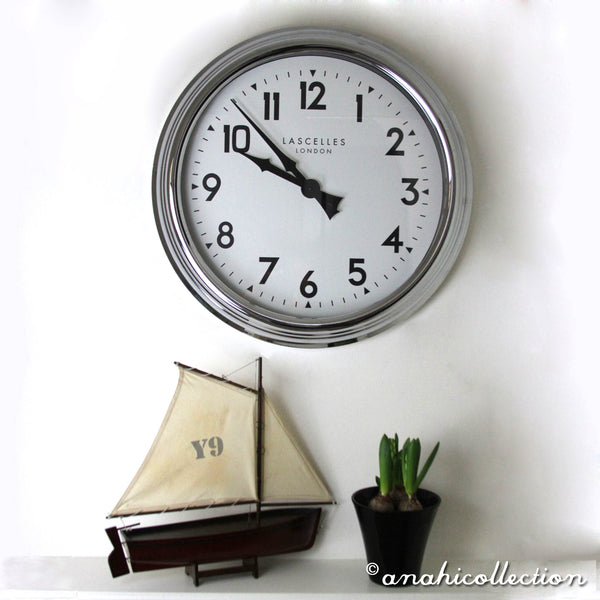 Large Chrome Wall Clock