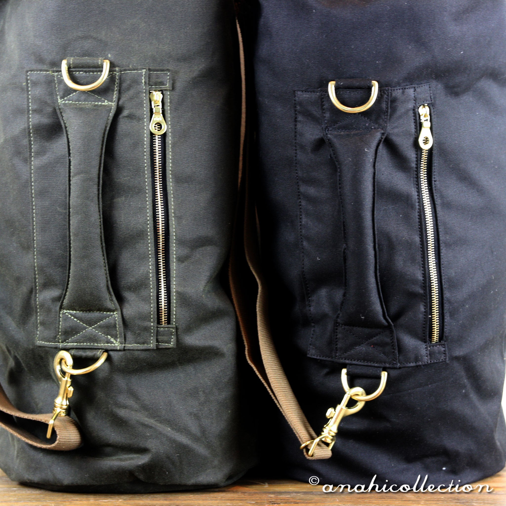 Large Waxed Canvas Duffle Bag