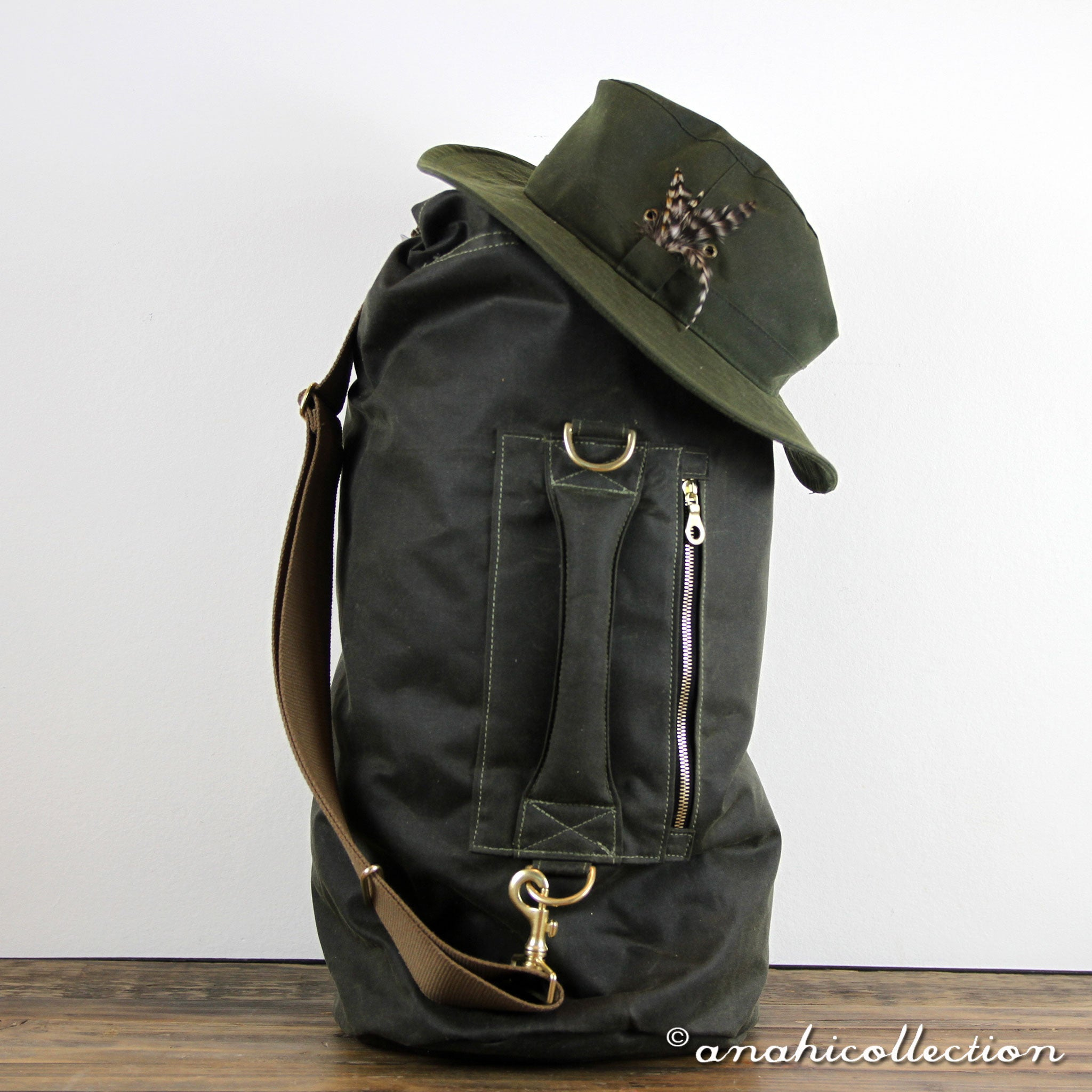 30c7736eba6a Large Waxed Canvas Duffle Bag