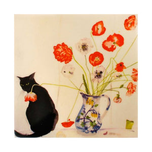 Poppies & Black Cat