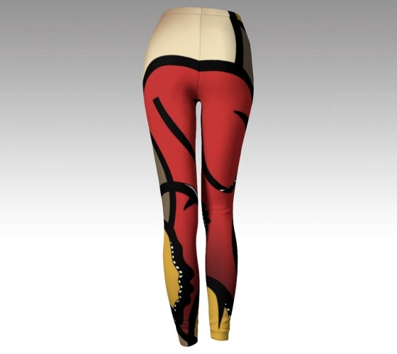 Artfitted, rush hour, made in Canada, spandex, compression, performance fabric, ecopoly, sports, fashion, style, all body shapes, artist inspired, leggings, red