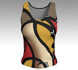 Artfitted, rush hour, Fitted tank top, artist inspired, made in Canada, peachskin jersey fabric, black back, body hugging