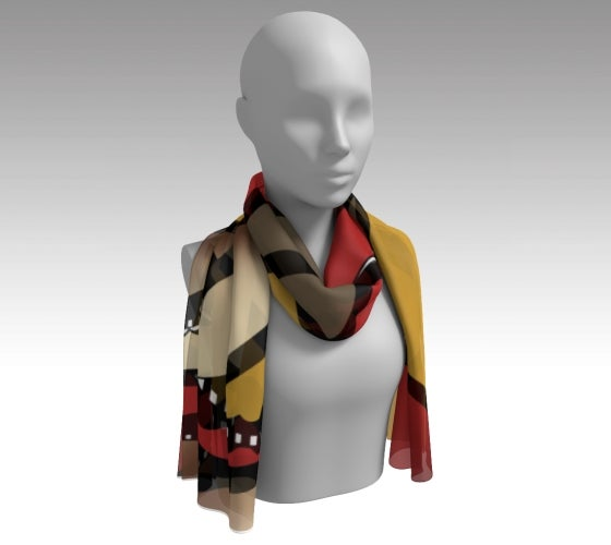 Artfitted, Artfitted scarf, accessories, made in Canada, art, poly chiffon, satin charmeuse, matte crepe, artist inspired, rush hour