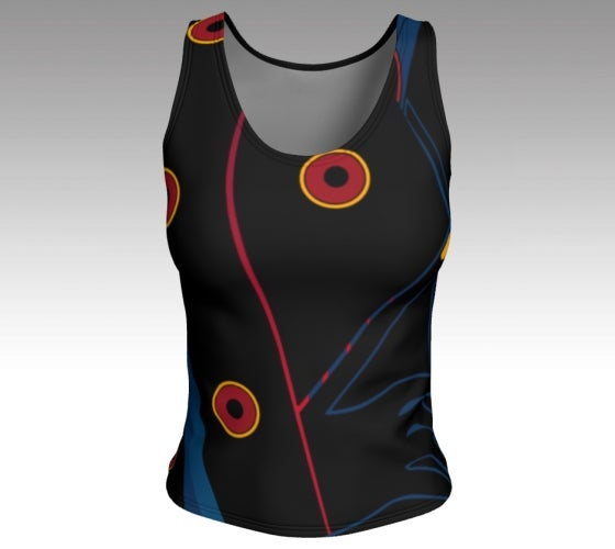 Artfitted, Nite Life, Fitted tank top, artist inspired, made in Canada, peachskin jersey fabric, black back, body hugging