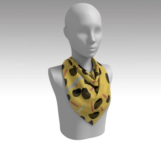 Ackee, scarf, Artfitted scarf, yellow, accessories, made in Canada, art, poly chiffon, satin charmeuse, matte crepe, artist inspired, square scarf, medium, Ghana, jamaica, national fruit