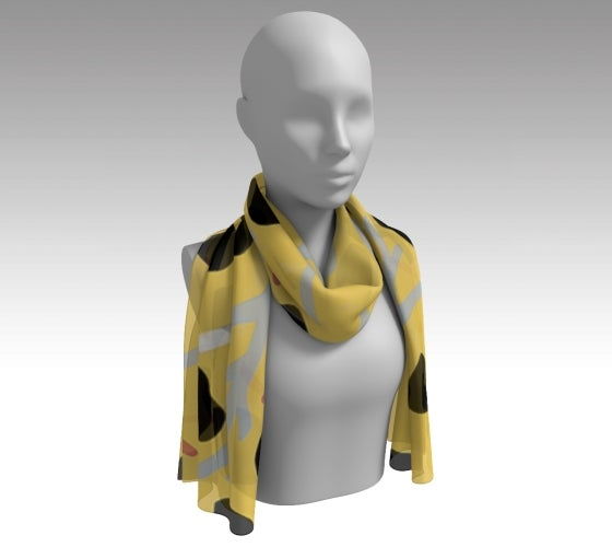 Ackee, scarf, Artfitted scarf, yellow, accessories, made in Canada, art, poly chiffon, satin charmeuse, matte crepe, artist inspired, head scarf, Ghana, jamaica, national fruit