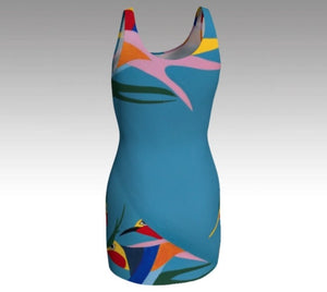 Bodycon, dress, spandex, ecopoly, fitted, made in Canada, curves, body hugging, artist inspired, tropical, blue, hummingbird