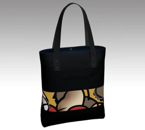 Black rush hour, Tote bag, accessories, made in Canada, canvas, vegan leather, cotton sateen lining, magnetic closure, inside pockets, artist inspired