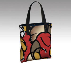Tote bag, accessories, made in Canada, canvas, vegan leather, cotton sateen lining, magnetic closure, inside pockets, artist inspired, rush hour