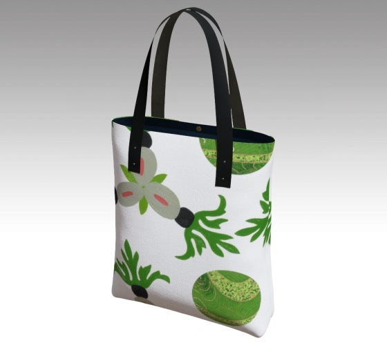 Tote bag, accessories, made in Canada, canvas, vegan leather, cotton sateen lining, magnetic closure, inside pockets, artist inspired, emerald , ackee and breadfruit