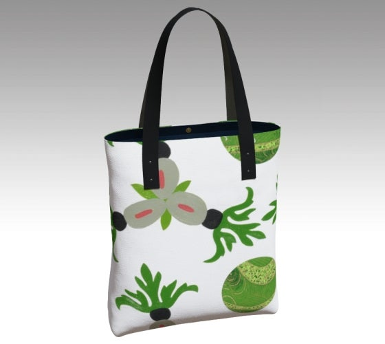 Tote bag, accessories, made in Canada, canvas, vegan leather, cotton sateen lining, magnetic closure, inside pockets, artist inspired, emerald, ackee and breadfruit