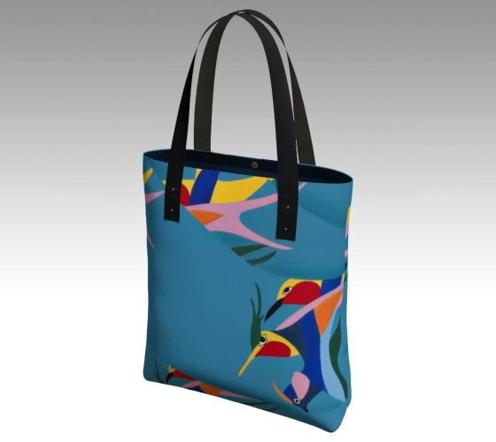 Tote bag, accessories, made in Canada, canvas, vegan leather, cotton sateen lining, magnetic closure, inside pockets, artist inspired, tropical, blue, hummingbird