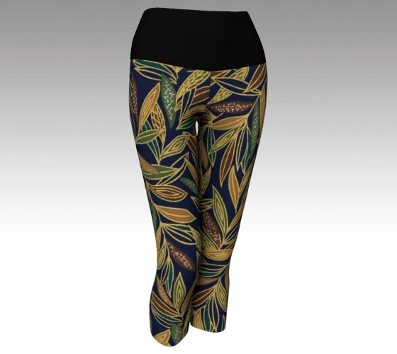 Yoga, capris, made in Canada, spandex, compression, performance fabric, ecopoly, sports, fashion, style, all body shapes, artist inspired, safari