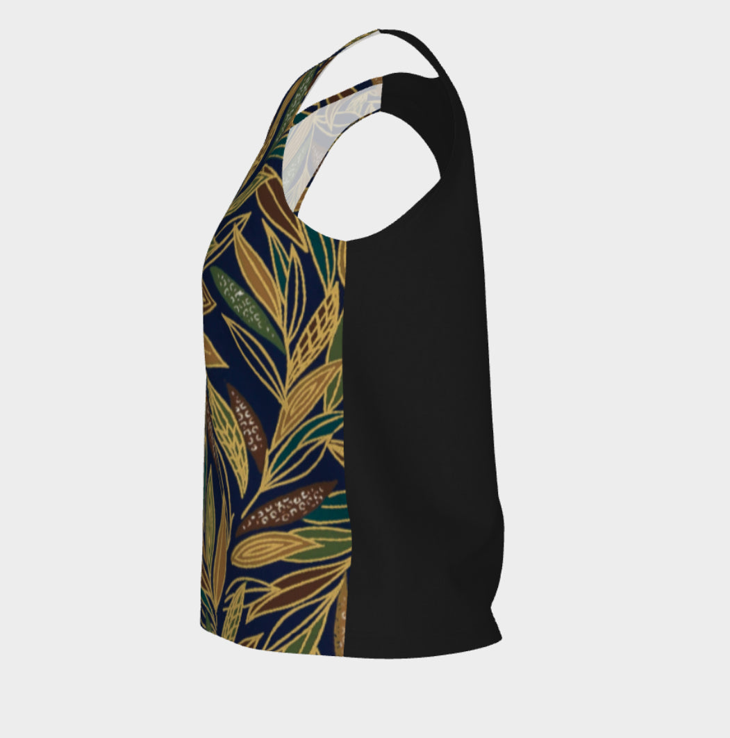 loose, relax fit, tank top, long fit, artist inspired, made in Canada, peachskin jersey fabric, black back, safari