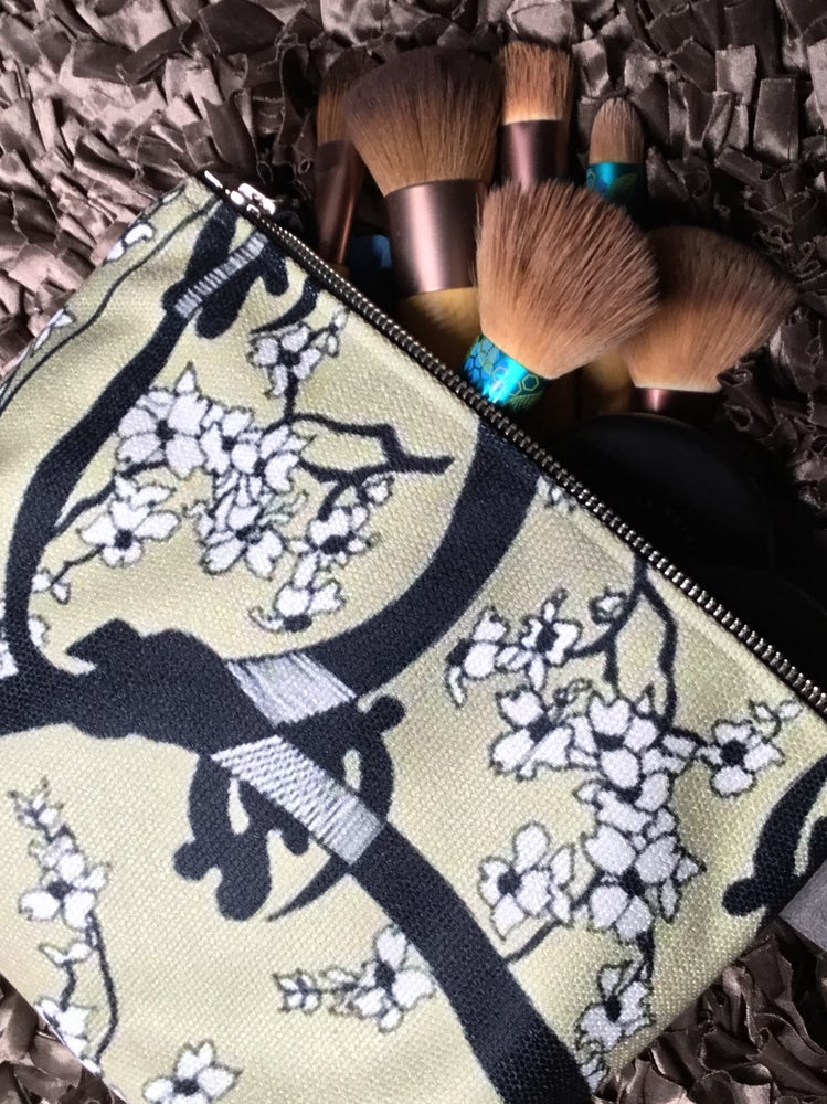Artfitted, makeup bag, gye nyame, west Africa, cherry, blossom, Japanese, culture, adinkra, makeup bag, accessories, makeup, made in Canada, canvas, artist inspired, design, inside pockets