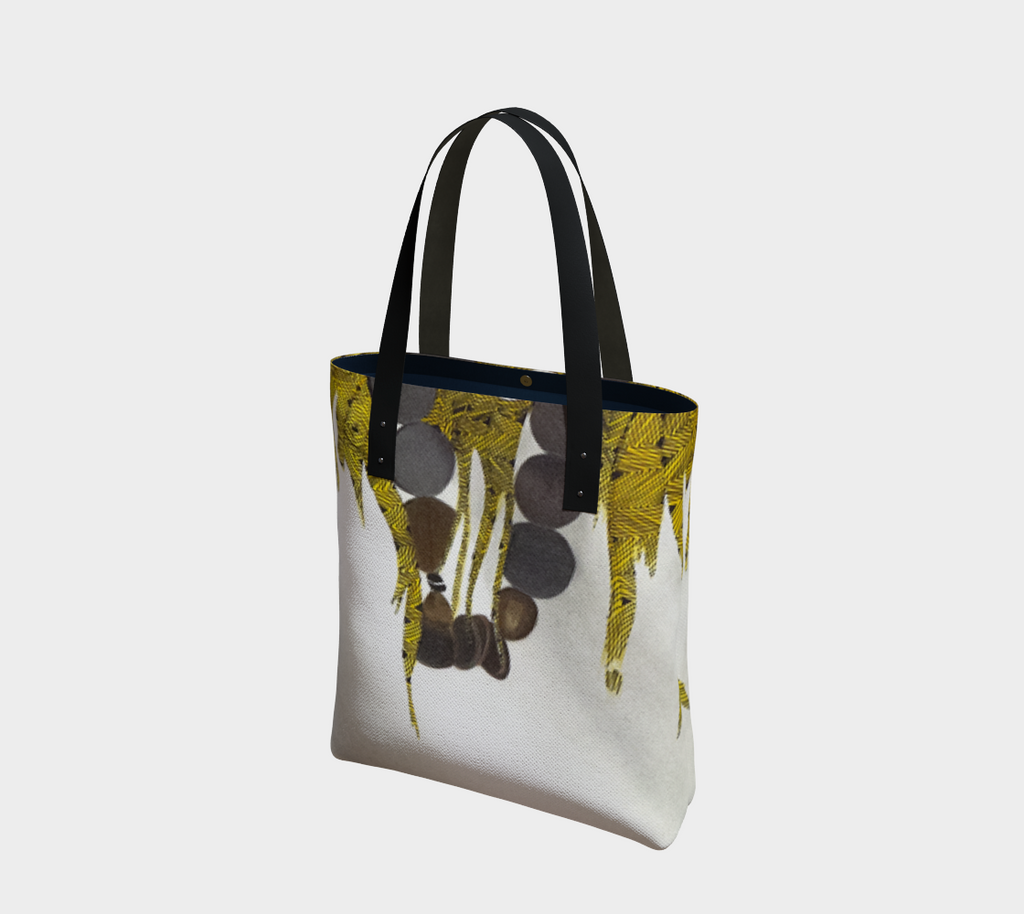 Tote bag, accessories, made in Canada, canvas, vegan leather, cotton sateen lining, magnetic closure, inside pockets, artist inspired, Afri, Fulani design