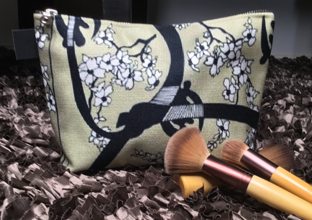 Artfitted, makeup bag, gye nyame, west Africa, cherry, blossom, Japanese, culture, accessories, adinkra, makeup bag, accessories, makeup, made in Canada, canvas, artist inspired, design, inside pockets