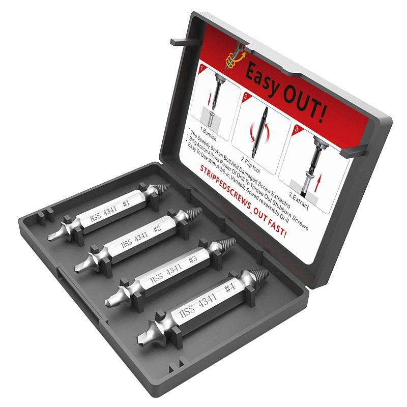 4 Piece Stripped Screw Remover with Case