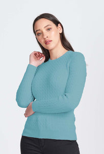 Merino Wool Long Sleeve Cable Crew Neck - Royal Merino