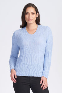 Alpaca Wool Wavey Pattern V Neck Jumper