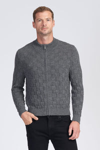 Alpaca Wool Mens Checkerboard Zip