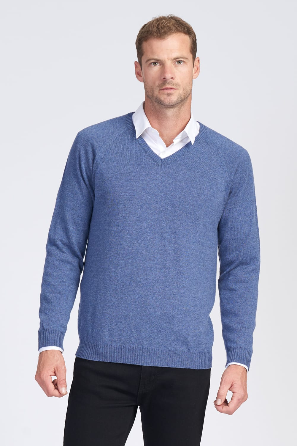 Merino Wool Mens Raglan V Neck Jumper - Royal Merino