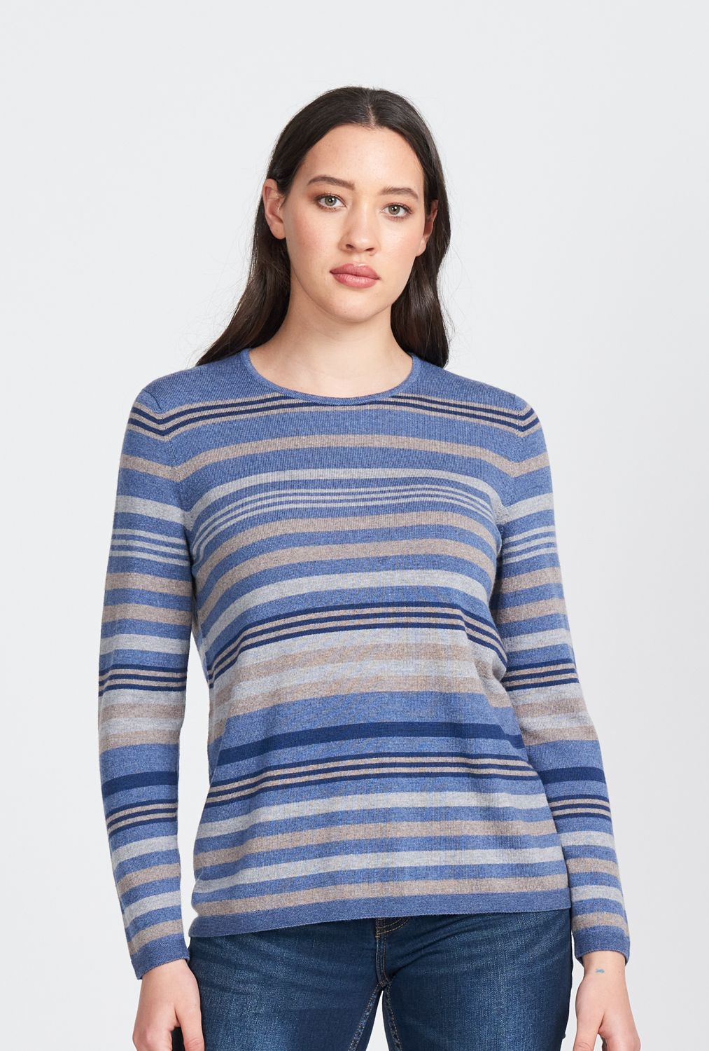 Merino Wool Multi Stripe Jumper - Royal Merino