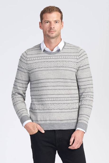 Alpaca Wool Mens L/S Jacquard Crew Neck Jumper