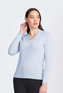 Merino Wool Arran Front High V Jumper - Royal Merino