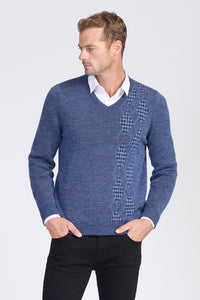 Alpaca Wool Houndstooth Argle V Neck Jumper