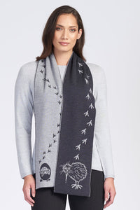 Merino Wool Kiwi Footprint Scarf - Royal Merino